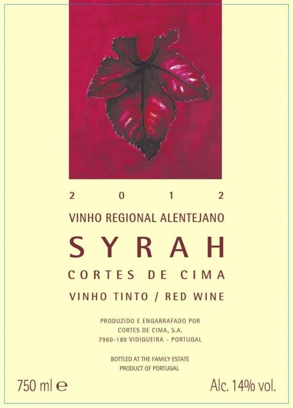 Portugalské červené víno Cortes de Cima Syrah na eshopu vína z Portugalska