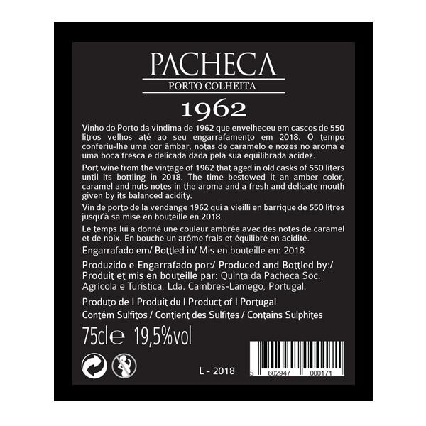 Portské víno Pacheca Porto Colheita Single Harvest Tawny 1962 na eshopu vín z Portugalska